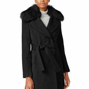 T Tahari Womens Faux-Fur-Collar Wrap Coat